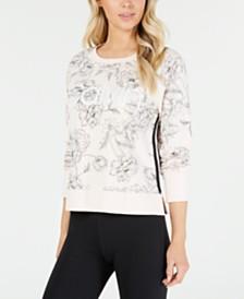 Calvin Klein Performance Printed Varsity-Stripe Sweatshirt