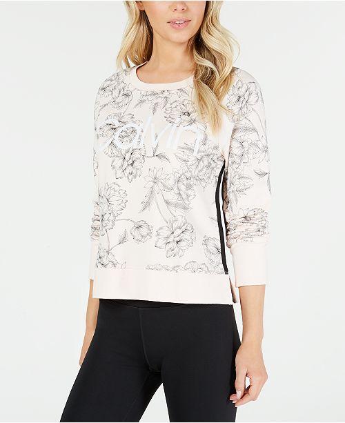 Calvin Klein Printed Varsity-Stripe Sweatshirt