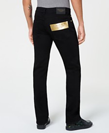 Versace Men's Gold Logo Straight-Fit Jeans