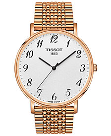 Tissot Men's Swiss T-Classic Everytime Rose Gold-Tone PVD Stainless Steel Bracelet Watch 42mm