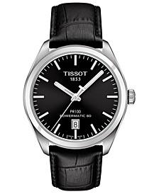 Men's Swiss Automatic T-Classic PR100 Black Leather Strap Watch 39mm