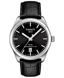 Tissot Men's Swiss Automatic T-Classic PR100 Black Leather Strap Watch 39mm