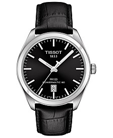 61bea7267 Tissot Men's Swiss Automatic T-Classic PR100 Black Leather Strap Watch 39mm