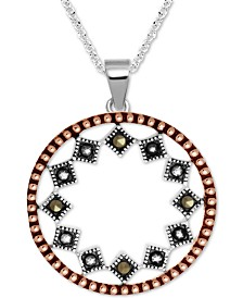 """Marcasite Two-Tone Circle Drop 18"""" Pendant Necklace in Rose Gold- & Fine Silver-Plate"""