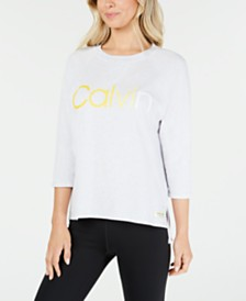 Calvin Klein Performance Ombré Logo High-Low Hem Top