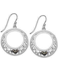 Marcasite Heart & Filigree Drop Small Hoop Earrings  s in Fine Silver-Plate