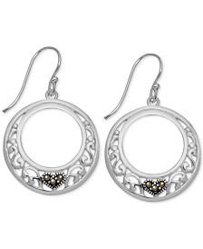 Marcasite Heart & Filigree Drop Hoop Earrings in Fine Silver-Plate
