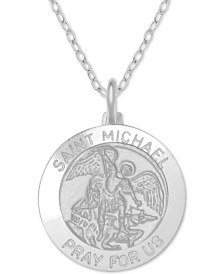 "St. Michael Medallion 18"" Pendant Necklace in Sterling Silver"