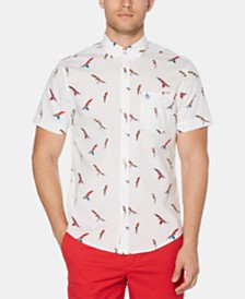 Original Penguin Men's Parrot Graphic Poplin Shirt