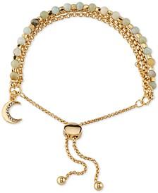 Stone & Crystal Moon Bolo Bracelet in Gold Brass Silver Plate