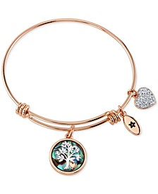Family Tree Inlay Charm Bangle Stainless Steel Bracelet in Rose Gold-Tone with Silver Plated Charms
