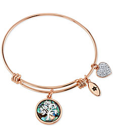 Unwritten Family Tree Inlay Charm Bracelet in Rose Gold-Tone