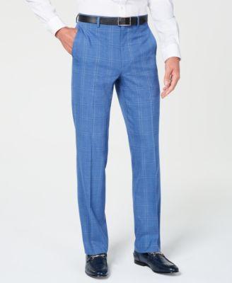 Men's Classic-Fit Stretch Blue Plaid Suit Pants