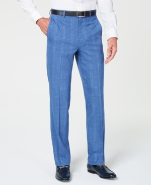 60s – 70s Mens Bell Bottom Jeans, Flares, Disco Pants Sean John Mens Classic-Fit Stretch Blue Plaid Suit Pants $32.99 AT vintagedancer.com