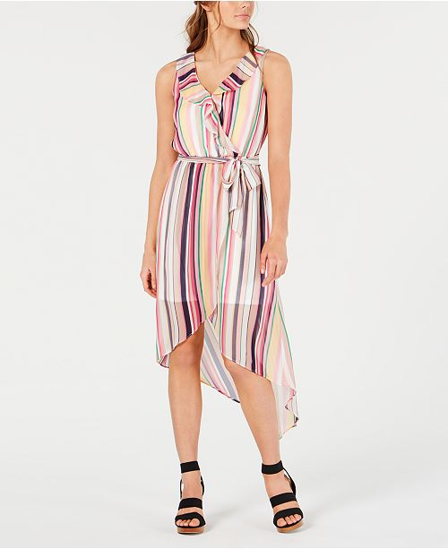 BCX Juniors' Multi-Stripe High-Low Dress