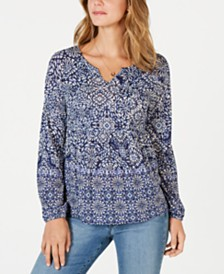 Style & Co Printed Pintucked Top, Created for Macy's