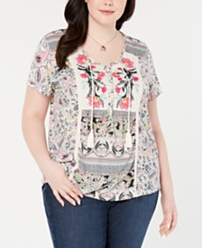 5effd804b97 Style   Co Plus Size Mixed-Print Peasant Top