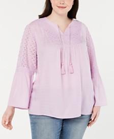 Style & Co Plus Size Crochet-Trim Split-Neck Top, Created for Macy's