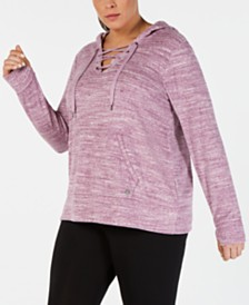 Ideology Plus Size Space-Dyed Lace-Up Hoodie, Created for Macy's