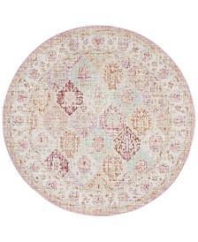 Safavieh Windsor Pink and Multi 6' x 6' Round Area Rug