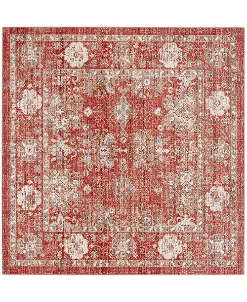 Safavieh Windsor Red and Ivory 6' x 6' Square Area Rug