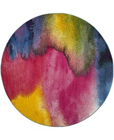 """Watercolor Green and Fuchsia 6'7"""" x 6'7"""" Round Area Rug"""