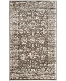Vintage Brown and Ivory 3' x 5' Area Rug