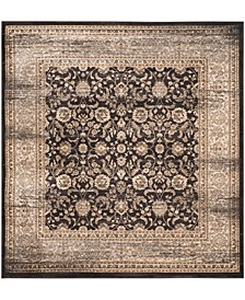 """Vintage Black and Ivory 6'7"""" x 6'7"""" Square Area Rug"""
