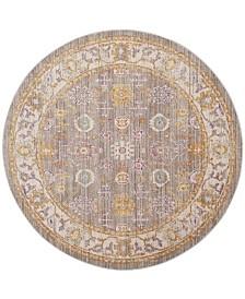 Safavieh Windsor Gray and Cream 6' x 6' Round Area Rug