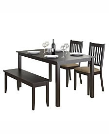 """CorLiving 4pc 55"""" Wide Dining Set, with Stained Bench and Set of Chairs"""