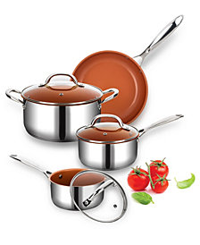 Culinary Edge Ceramic Titanium Infused Nonstick 7 Piece Stainless Steel Cookware Set