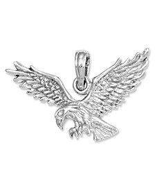 14k White Gold Charm,  Eagle Landing Charm