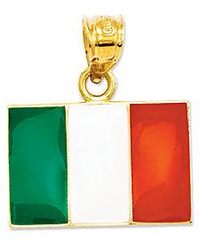 14k Gold Charm, Italy Flag Charm