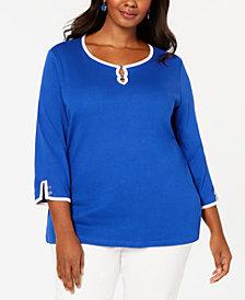 Karen Scott Plus Size Contrast-Trim Keyhole Top, Created for Macy's