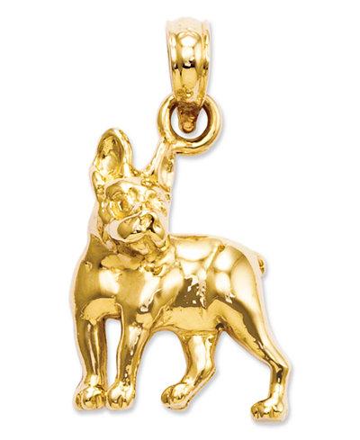 14k Gold Charm, Boston Terrier Dog Charm