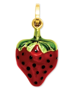 14k Gold Charm, Red and Green Puffed Strawberry Charm