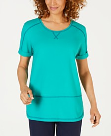 Karen Scott Contrast-Stitch Active T-Shirt, Created for Macy's