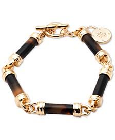 Gold-Tone Tortoise-Look Barrel Flex Bracelet