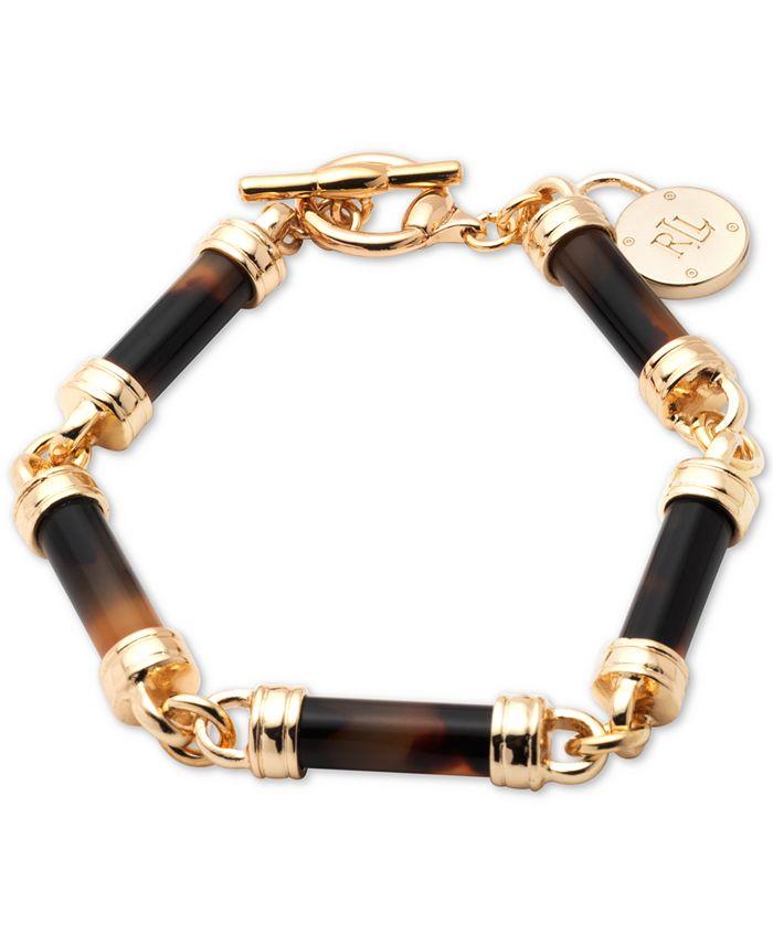 Lauren Ralph Lauren - Gold-Tone Tortoise-Look Barrel Flex Bracelet