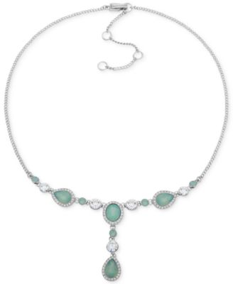 """Crystal & Stone Lariat Necklace, 16"""" + 3"""" extender"""