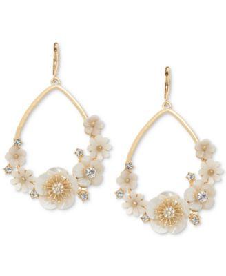 Gold-Tone White Flower Drop Earrings