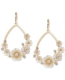 Gold-Tone White Flower Drop Earrings