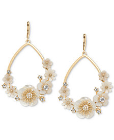 lonna & lilly Gold-Tone White Flower Drop Earrings