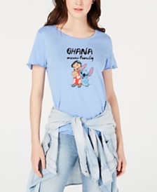 Disney Juniors' Lilo & Stitch Lettuce-Edged Graphic T-Shirt by Freeze 24-7