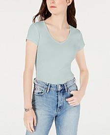 Juniors' Cotton V-Neck Baby T-Shirt