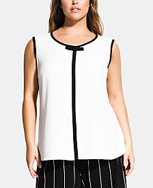 City Chic Trendy Plus Size Contrast-Trim Sleeveless Top