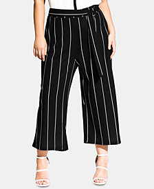 City Chic Trendy Plus Size Striped Wide-Leg Pants