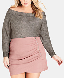 City Chic Trendy Plus Size Off-The-Shoulder Metallic Sweater