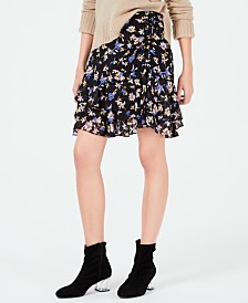 Bar III Floral-Print Ruffled-Hem Skirt, Created for Macy's