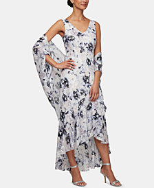 Alex Evenings Petite Ruffled High-Low Gown & Shawl